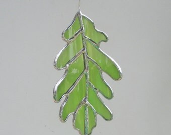 Green Oak Leaf - Upcycled Stained Glass Suncatcher
