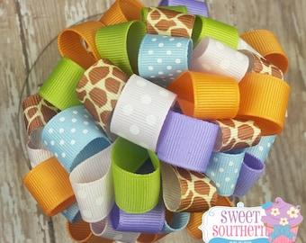 Giraffe Loopy Puff Hair Bow Pastel