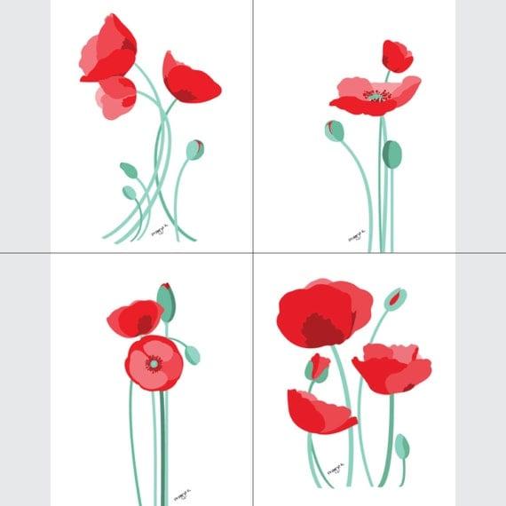 Set of 4 - poppy art print, poppy print, red poppy print, red Wall Art Print, Floral Wall Art, Floral Print, 8 x 10, botanical illustration