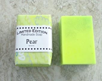 Pear Handmade Soap, Gentle soap recipe, block shape, bright green yellow soap