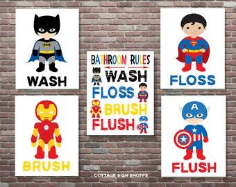Bathroom Rules, Superhero Bathroom Art, Superhero Art, Superhero Bathroom Rules, INSTANT DOWNLOAD,Superhero Theme,Batman, Ironman, Superman