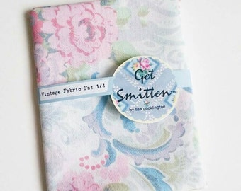 Elegant Blue, Grey, Sage Green & Pink Floral Scroll English Vintage Fabric Fat Quarter