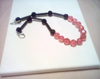 Jet Black and Pink crystal statement necklace.