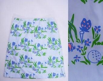 SUMMERS END SALE // 1970s skort vintage 70s golf novelty print light blue short skirt L/Xl