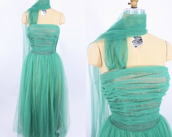 1950s dress vintage 50s green Fred Perlberg tulle prom evening gown dress S W 26""