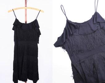 1980s dress vintage 80s black mini fringe 1920s style flapper dress XS