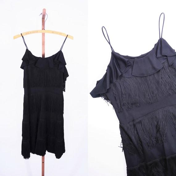 ... 1920s style flapper dress | vintage 80s black fringe mini dress | XS