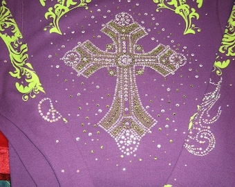 Long Sleeve Thermal T with Gorgeous Lime n Clear Cross n Bling down Sleeves