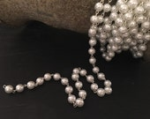 "8mm Glass Pearl and Silver Rosary Chain - 18"" strand"