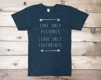 Hiking Tshirt - Take Only Pictures, Leave Only Footprints - men's/unisex tshirt - gift for men - nature inspired - inspirational quote