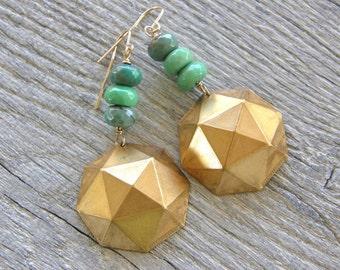Geometric Gold Brass and Green Opal Drop Earrings, Mint Green Stone Earrings