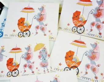 DESTASH 5 Poodle Cards,Poodles with Umbrella Cards