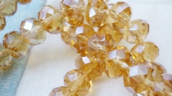 6mm AB Champagne Rondelle Crystal Beads- 8 Rondelle Crystals