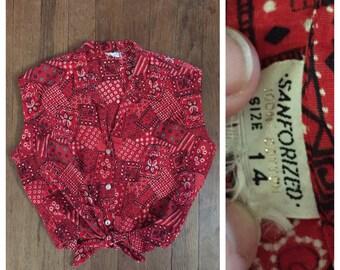 VINTAGE 60s bandana country sleeveless blouse tie midriff top