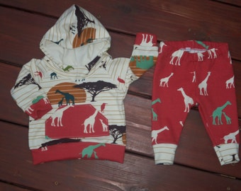 Sized 0-3 months Baby Boy Hoodie and Leggings Outfit with Giraffe Family Design