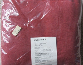 Amazing Vintage 1970s Stretch and Sew Wool Sweater Kit-Brick Red