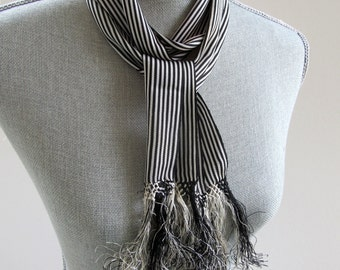 Narrow Vintage Scarf or Sash, Mexican, Ethnic,  Fringed, Rayon, Black and White, Traditional, Pinstripes, Graphic