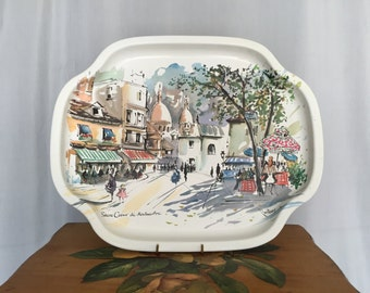 Paris Tray Sacre Couer de Montmartre Vintage Metal Oval Platter Elite Trays Made in England