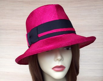Womens Straw, Fedora Hat,  Fuchsia Summer Hat, Sun Hat, Pink and Blackt