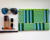 African Print Small Bag, Make up Bag, Green Pouch, Little Green Bag, Spring Gift Guide