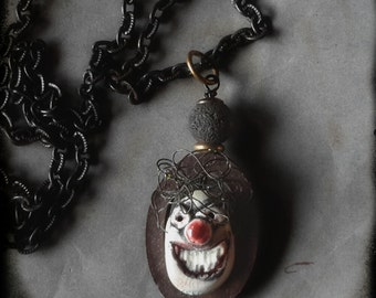 The Clown pendant necklace quirky noir ceramic doll face artisan