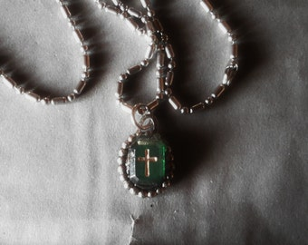 Cross necklace tiny vintage glass upcycled pendant