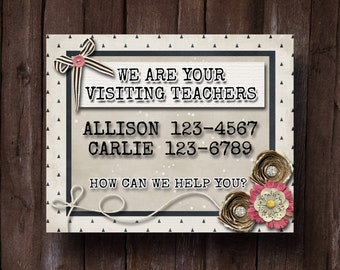 NEW Visiting Teaching Calling Card Customized JPEG- LDS Relief Society (Tan Black)