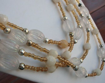 Long Vintage Acrylic and Glass Bead Multi - Wrap Necklace White and Gold 51 inches Long