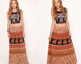 Vintage 90s ETHNIC Wrap Skirt COTTON Boho Skirt Hippie Skirt INDIAN Festival Skirt Ethnic Print Skirt