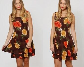 SALE Vintage 90s FALL Colored Mini Dress Mocha Brown Sleeveless TIERED Dress Oversized Floral Mini Dress Grunge Sundress