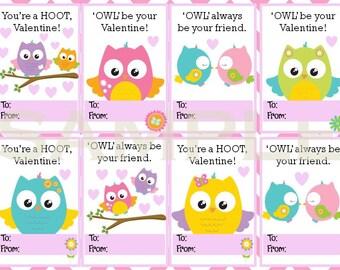 Printable Owl Valentine's Cards