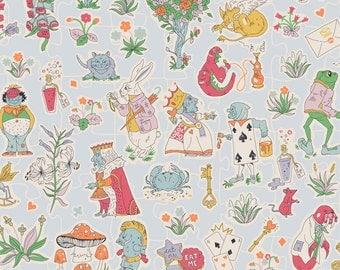 Liberty Tana Lawn Fabric Gallymoggers Reynard F Fat Quarter Alice in Wonderland Pale Blue