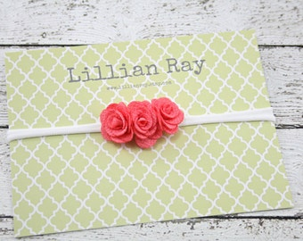 Tiny Pink Rose Trio Nylon Headband