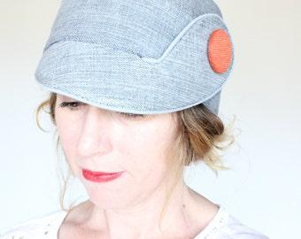 MAE JONES ---x--- Cloche inspired hat in 'Loke's Denim', made from reclaimed trouser - M