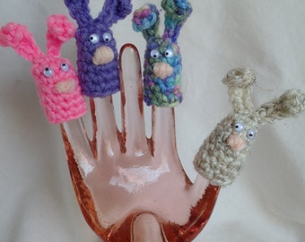 Set of 4 Crochet Bunny Finger Puppets