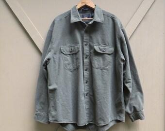 Arrow Workwear vintage Sagebrush Green Chamois Shirt / Camp Shirt / Outdoorsman Camping Hiking Southwestern Rancher
