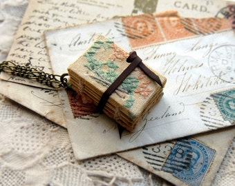 Tiny Tales No.2 - Miniature Wearable Book, Vintage Embroidered Linen, Tea Stained Pages, OOAK