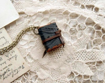 Forest Greenie - Miniature Wearable Book, Dark Green Vintage Leather, Blue Stained Pages, OOAK