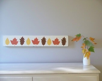 Fall Leaves, Autumn Wood Hand Painted Sign, 23 x 4 Inches, Halloween, Thanksgiving Decor, Over Doorway Sign, Wide and Narrow