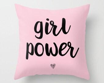 Girl Power Pillow w/ Insert  | Throw Pillow | Pillow Case | Pillow Cover | Office Decor |  Home Decor | Statement Pillow