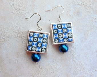 Silver Earrings Portugal Tile Azulejo Portuguese Antique FRAMED - BRAGA Blue and White Geometric- - Majolica Reversible  Gift Boxed 728