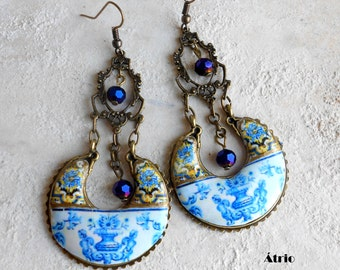 Portugal Antique Tile Chandelier Earrings 17th Century Baroque - Blue Gold - Igreja Madre de Deus, Lisboa and Praça Marquês de Pombal Aveiro