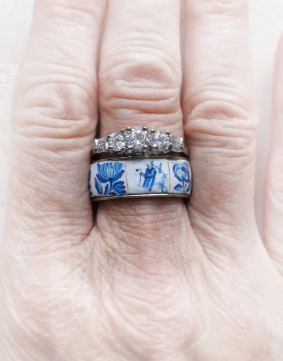 Portugal Antique Azulejo Tile Replica STAINLESS STeEL Ring Set - Stackable 1837 Delft Blue US size 8
