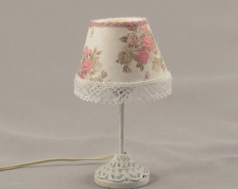 Dollhouse Miniature Shabby Chic Pink Roses Floral Lace Table Lamp