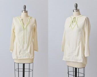 1970s Cotton Gauze Boho Peasant Festival Blouse / Boho Top / 1970s Blouse / Cotton / Off White