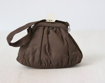 Brown Evening Purse Bag / 1940s Brown Corde Formal Handbag / Lucite Closure / Brown Corde Bag