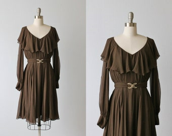 Vintage 1970s Dress / Brown Silk Dress /  70s Dress / Long Sleeves / Ganache