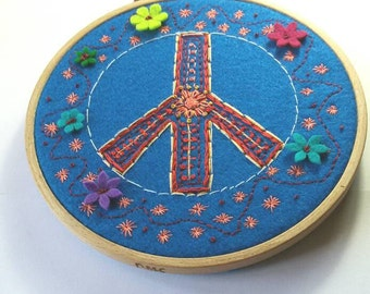 Hand Embroidery Peace Sign- Flower Power Embroidery Hoop Wall Hanging- Ready To Ship