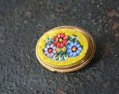 Reserved for Alex Vintage Micro Mosaic Yellow Floral Flower Brooch Pin ITALY