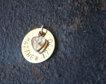 Faith the Size of a Mustard Seed Scripture Hand Stamped Brass Disc Gold Plated Heart Mustard Seed CHARM ONLY
